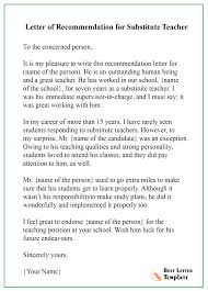 Letters Of Recommendation Templates For Teachers Recommendation Letter For Teacher Format Sample Example