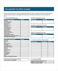 Monthly Household Expense Form Home Budget Form Sample 6 Free Documents In Word Pdf