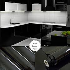 17 71 x 79 black contact paper waterproof high gloss vinyl self adhesive for kitchen counter top cabinet wardrobe furniture b07czkgd1y