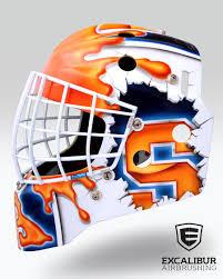 syracuse goalie mask designed and airbrushed by ian johnson for cha university of syracuse goalie jennifer gilligan