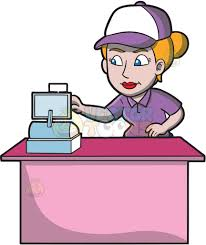 A Female Fast Food Worker Punching In Orders Cartoon Clipart