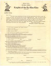 of the ku klux klan questionnaire  knights of the ku klux klan questionnaire 1925