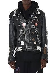 99 is men s black studded leather biker jacket