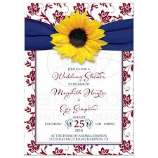 Couple Wedding Shower Invitations Burgundy Navy Yellow Sunflower Couple Wedding Shower Invitation