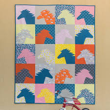 Horse Quilt Pattern Adorable Stay Gold Cloud48 Fabrics