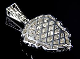 simulated diamond lion pendant in white gold finish