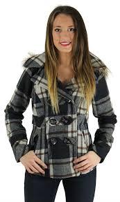 dollhouse junior s women s wool blend detachable hood pea coat jacket com