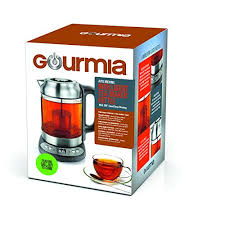 gourmia gdk290 electric glass tea kettle with built in precise steeping tea infuser programmable time temperature pedestal control panel 2 quarts