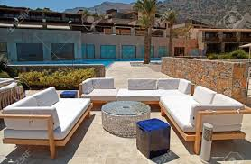 Outdoor Furniture On Beautiful Mediterranean Patio In Summer  ResortGreece Wide Angle Stock 123RF Photos