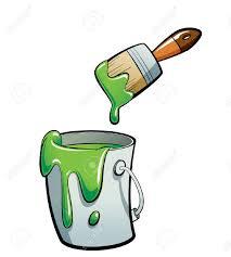 pincel pintando. cartoon pintura de color verde en un cubo gris, pintando con pincel c