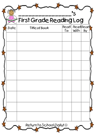 First Grade Reading Log First Grade Wow Ready To Read At Home Kindergarten