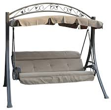 westwood garden metal swing hammock 3 seater chair cushioned bench furniture lounger shelter canopy patio outdoor sc03 taupe co uk garden