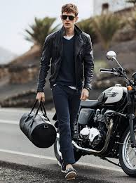 men s black leather biker jacket navy v neck sweater white crew neck t shirt navy skinny jeans men s fashion lookastic com