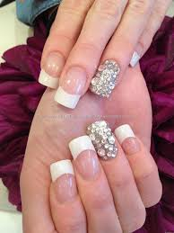 White Tip Acrylic Nail Designs Ring Finger, overlays and Swarovski ...