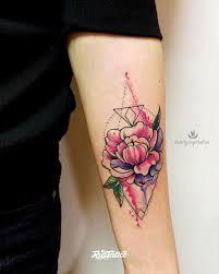 фото татуировки пион в стиле авторский акварель цветная татуировки