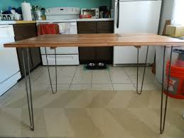 ikea hack dining table with hairpin legs