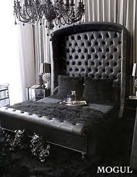 all black furniture. all black everything tufted sleigh bed with cubby headboard crystal chandelier and throw rug pillows furniture