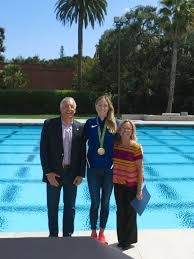 Olympian KK Clark visits her alma mater, Sacred Heart Prep, in Atherton  with a gold medal around her neck - InMenlo