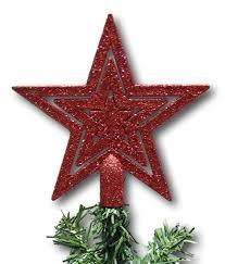 Urbandesign Weihnachtsbaumspitze Baumspitze Baumstern Spitze Stern Baumschmuck Weihnachtsbaum Stern Weihnachtsstern Glitzer Frost Rot Glitzer