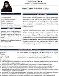 Teacher Curriculum Vitae Enchanting English Teacher CV Format Resume Sample And Template Curriculum
