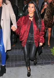 celebrity street style kourtney goes out for las night in er jacket and 2250 leather pants