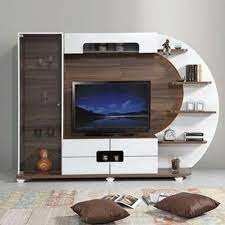 brown and white modular wall tv unit