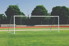 grass soccer field with goal. Perfect Goal Soccer Goal In Grass Field With O