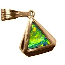 14k gold opal pendant inlay green and gold triangle