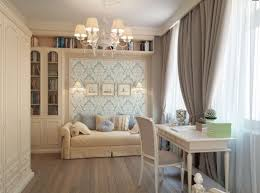 Blue Wallpaper Taupe Brown Curtains Bedroom