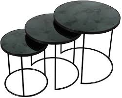 charcoal heavy aged mirror round nesting side table set of 3 furntastic