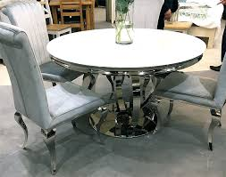 chrome dining table round glass table plus four velvet chairs 1950s style chrome retro dining table