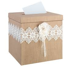 burlap and lace rustic wedding card box