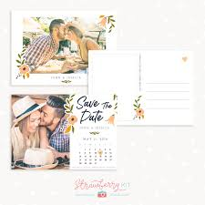 Save The Date Cards Template Floral Save The Date Calendar Card Template Strawberry Kit