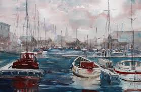 how to paint a harbor view scene acrylic flowers painting technique