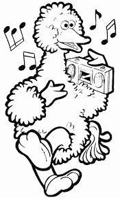 Kids N Fun Kleurplaat Sesamstraat Pino Luister Radio
