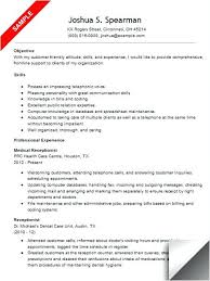 Receptionist Resume Examples Best Medical Receptionist Resume Objective Samples Sample Secretary Unit