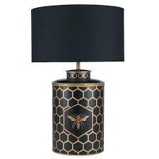 black honeycomb table lamp metal