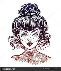 татуировку чернилами женский портрет с винтаж пучок волос сделал
