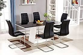 furnitureboxuk murano black white high gloss gl dining table set and 6 leather chairs