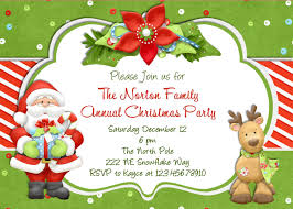 christmas holiday party and dinner invitation card design ideas to annual christmas party invitation card design cute santa and reindeer picture and red green font color