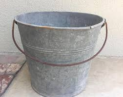 Galvanized Vintage Metal Bucket with Handle, Rustic Pail, Yard Art Bucket,  Backyard Planter