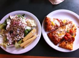 round table pizza lunch buffet pizza salad soda