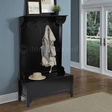 Charming Black Entryway Wood Hall Tree Coat Rack Storage Bench