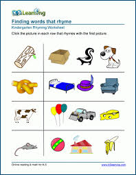 Preschool and kindergarten rhyming printable worksheets for teachers and homeschool parents. Matching Pictures That Rhyme Worksheets K5 Learning