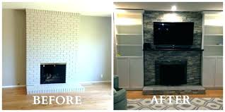 cover brick fireplace renovation before and after remodel ideas covering with tile slate