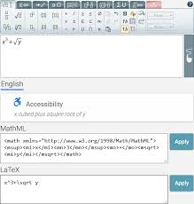 example showing an equation in the mathtype web editor with its corresponding mathml latex
