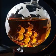 ln whiskey decanter globe and glassware set