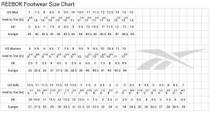 Reebok Shoe Size Chart For Kids Reebok Shoe Sizing Chart