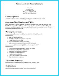 Job Description For Teacher Assistant On Resume Resume For