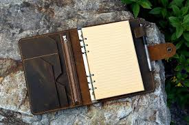vintage a5 size leather organizer agenda refillable genuine image